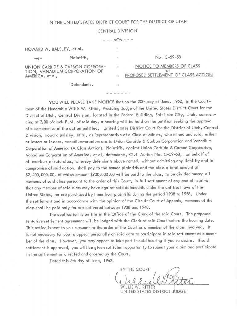 Court Settlement Document signed by Judge Ritter