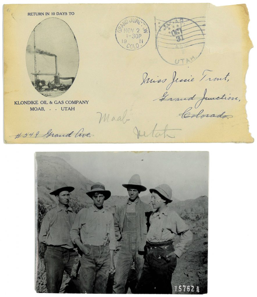 Balsley, Sommersville, Sommersville (brothers?), and Bergh with envelope addressed to Miss Jessie Trout