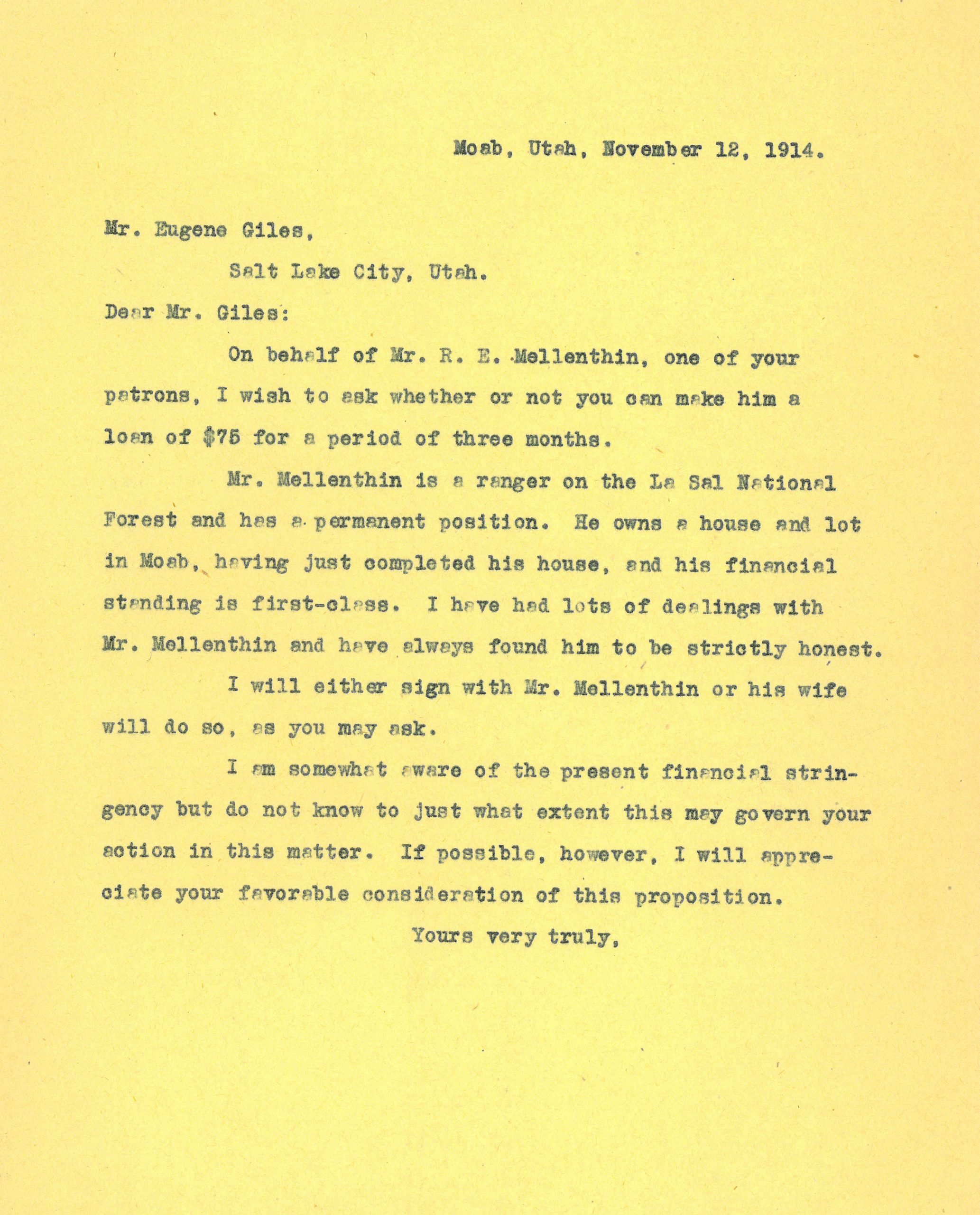 Letter to Mr. Eugene Giles