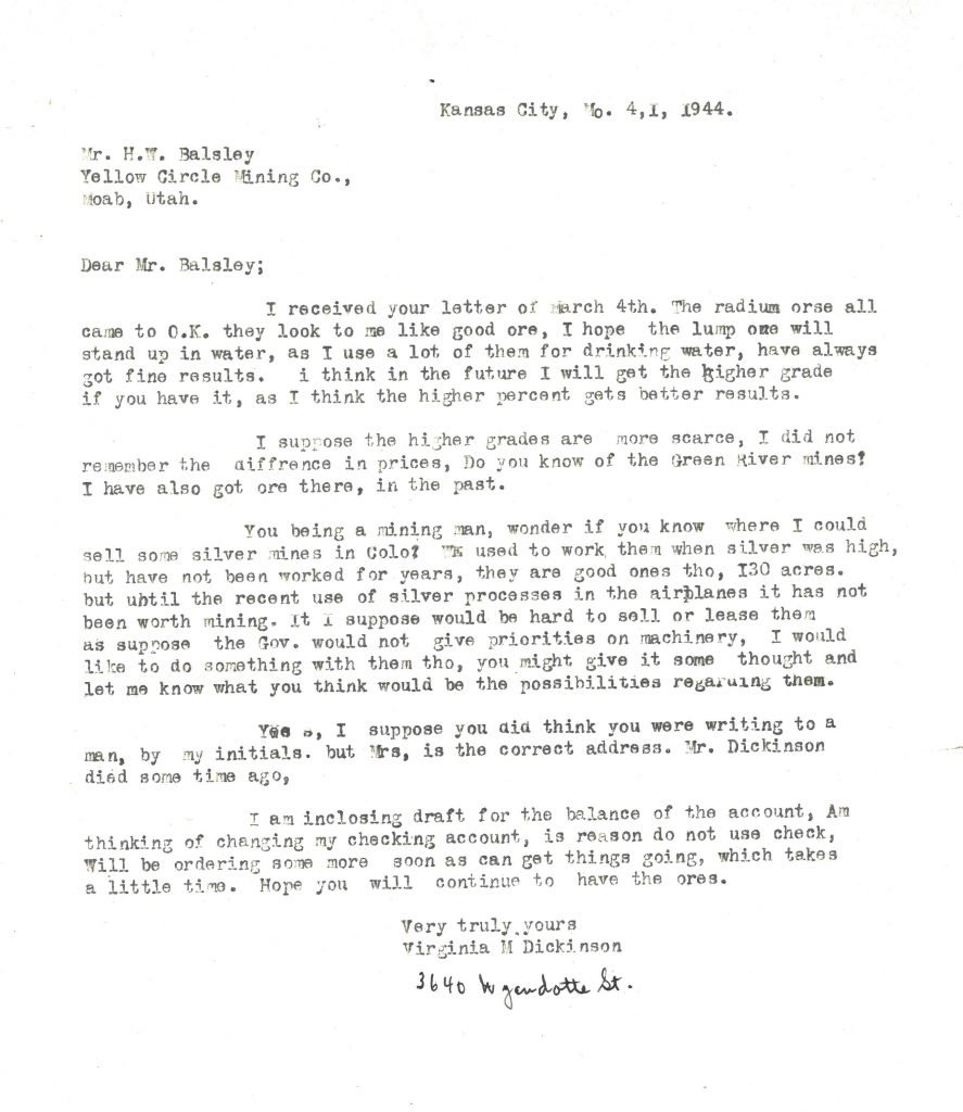 Letter addressed to Mr. H.W. Balsley from Virginia M. Dickinson regarding ore samples and sales.